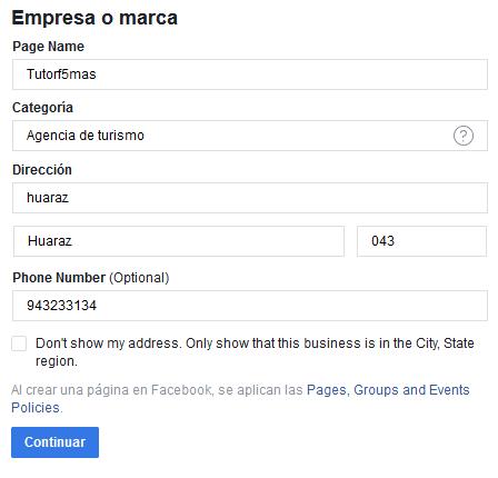 crear Fanspage de Facebook