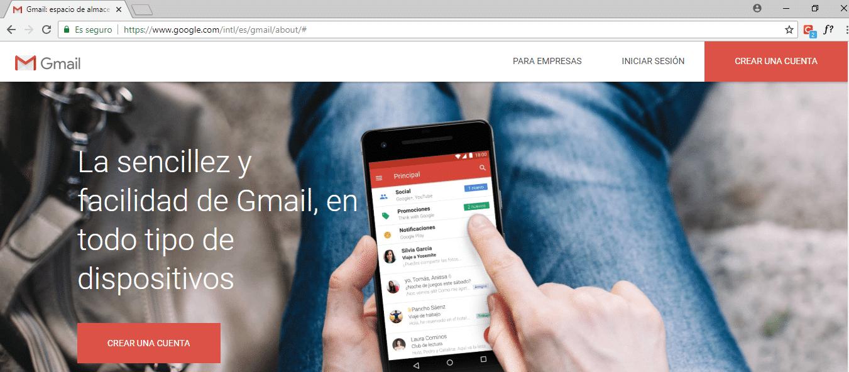 crear una cuenta de correo en Gmail